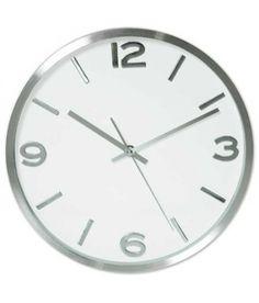 Reloj pared cocina plateado