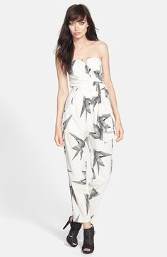 Rules of Etiquette Print Tie Front Romper available at #Nordstrom $68.00. I can't pull it off, but I like the print and how it's draped.