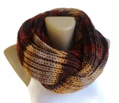 knit men scarf ,knitted women infinity scarf for winter / Fall fashion , brown beige eternity knit scarf on Etsy, $35.00