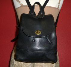 Vintage COACH Black Leather Smaller Backpack Shoulder by Station85, $69.99