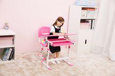 Beautiful Pink Desk for Girls Girl Desk, Back To School, Hello Kitty, Toddler Bed, Pink, Furniture, Beautiful, Girls, Home Decor