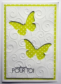 negative space for butterflies, embossed with divine swirl EF