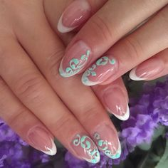 flawless nails | Short Oval French + Velvety mint Design on 4 nails £65