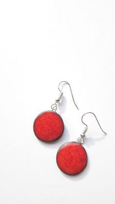 Red handmade ceramic earings