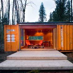 """I just love the new ideas for living besides the drab same old brick houses. But I can't decide if I want to work towards a big house or something more simplistic and live in nature like in this """"Cargotecture"""" home."""