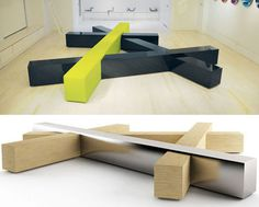 """Intersecting Benches""  ~ Designed for more public interactions.  Brilliant! -js"