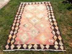Kilim rug Vintage Turkish kilim rug 102 x 62 area by PocoVintage