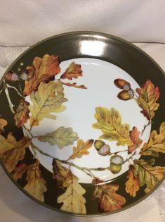 Williams Sonoma set of Acorn Dinner Plates Fall Autumn Thanksgiving Green Small Acorns, Sonoma Oak, White Dinnerware, Oak Leaves, China Painting, Williams Sonoma, Ceramic Plates, Dinner Plates, Fall Decor