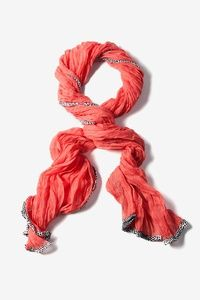 Coral Polyester Animal Trim Solid Long Scarf