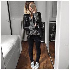 «Tenue d'hier en entier (changement de chaussures en cours de journée) : • Jacket #samsoesamsoe (on @cyrielleforkure) • Knit #bashparis (from…»
