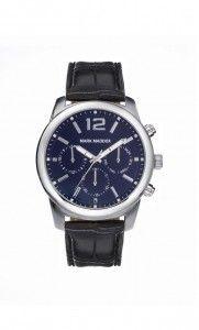 Colección Timeless luxury - HC6005-35. Reloj de caballero multifunción. Esfera color azul y correa negra. Impermeable 30 metros (3 ATM). Precio: 59,00 €