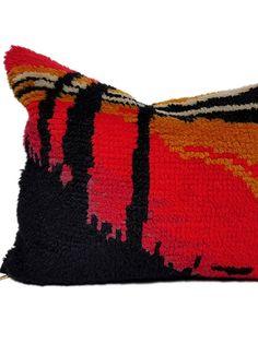 Cityscape Small Lumbar Pillow - My Vintage Pillow - Red Pillows, Vintage Pillows, Red Apple, Designer Pillow, Lumbar Pillow, Repurposed, Feather, Plush, Mid Century