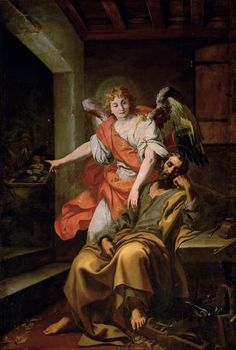 Dream of Flight by Daniele Crespi, Italian painter, 1590-1630, at the Kunsthistorisches Museum, Vienna, Austria. According to the Gospel of St Matthew, Joseph had four dreams in which Angels were sent to warn him at various times so he could protect Mary and the infant child Jesus.