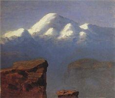 The top of Mount Elbrus in the Sunlight - Arkhip Kuindzhi