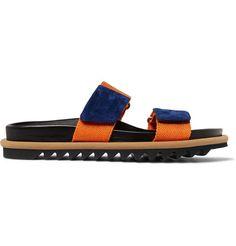 Suede-Trimmed Webbing Sandals | MR PORTER Men's Sandals, Blue Suede, Bag Making, Fashion News, Calves, Dust Bag, Vans, Shoes, Style