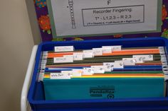 Organizing Recorder Karate music so that it's a self serve for the kids.  They know that when they pass a belt they need to go and get the next song to practice.  What a neat idea!