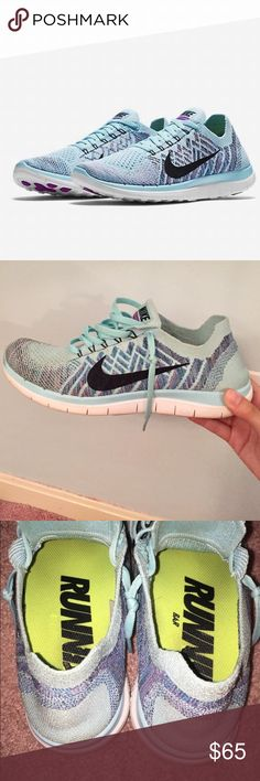 Nike Fly Knit Running Sneakers Size 8.5 Light Blue Nike Fly Knit Running Lace Up Lightweight Sneakers Size 8.5 Light Blue Black White. True to size. Great condition. Nike Shoes Sneakers