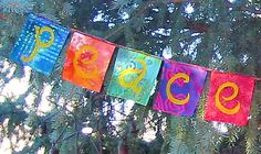 Peace on Earth Flags for Yule Christmas Garland by ArtToGo on Etsy, $15.00