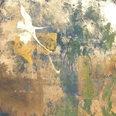 Mountain Memoir - Columbine, mineral pigment, gold and silver leaf on paper, 12 x 12 inches by Makoto Fujimura