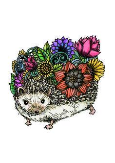 Flower Hedgehog Art Print by Noah's ART | Society6