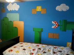 Mario Wall Murals Bedroom Design- not saying I could do this, but Jake would love it!