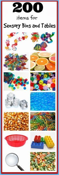 200 items for Sensory Bins and Sensory Tables!   The mega list of ideas for sensory play!!  Make hundreds of awesome sensory bins or sensory tables with this amazing list of ideas!!!