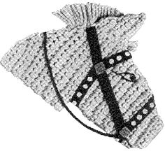 So cute for my horse-barn loving friends. Hobby Horse Potholder | Crochet Patterns