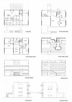 Plans and elevations of the Villa Stein, Garches (1927) - Le Corbusier