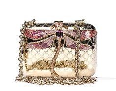 Gucci Gold Monogram Dragonfly Miniaudiere Broadway Clutch Bag