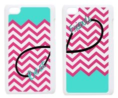 Custom Pink and Turquoise Chevron Art Best Friends Inspired Hard Protective Bumper Case Cover Design for IPod Touch 4 Two Cases by Best Friends Phone Case Cover, http://www.amazon.com/dp/B00ES5HBX2/ref=cm_sw_r_pi_dp_TR5osb1HDP5EN