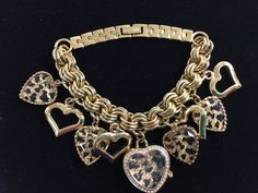 "Betsey Johnson Goldtone Charm Bracelet Watch Heart Leopard Print 8"" New Battery #BetseyJohnson #Charm"