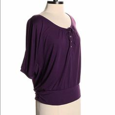 American Eagle top A brilliant purple top, that perfect & comfortable pieces for a casual day. 50% rayon, 50% polyester. In perfect condition. American Eagle Outfitters Tops