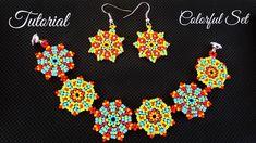 Colorful Peyote Beaded Bracelet And Earrings - Tutorial - YouTube