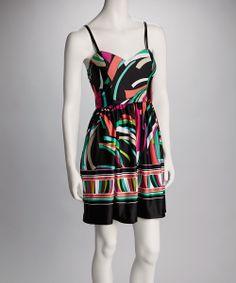 Black & Aqua Abstract Sleeveless Dress