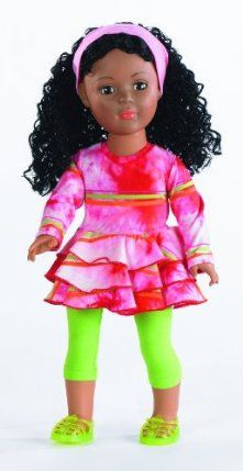 """Madame Alexander Dolls, 18"""" Oh So Groovy, Favorite Friends Collection by Alexander Dolls. $79.99. New 18 inch African-American play doll with Madame Alexander quality. She has long curly hair and brown eyes. Compatible with American Girl dolls. Her rooted hair can by styled, and she has eyes with long lashes that open and close. She is wearing a tie-dye dress with green leggings and sandals. From the Manufacturer Introducing Madame Alexander's 18"""" p..."""
