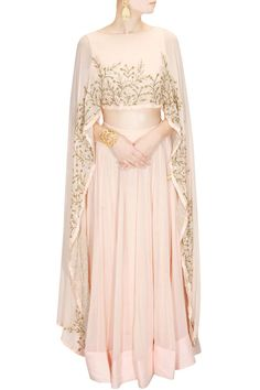 PRATHYUSHA GARIMELLA Blush pink embroidered cape lehenga set available only at Pernia's Pop Up Shop.