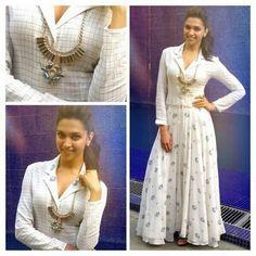 Deepika Padukone in Rahul Mishra for Ram Leela promotions Bollywood Fashion, Bollywood Actress, Bollywood Style, Ethnic Fashion, Indian Fashion, Blouse Designs Silk, Indian Celebrities, Indian Ethnic Wear, Indian Designer Wear