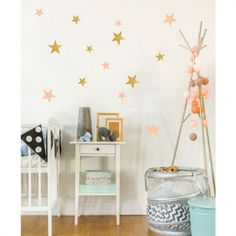 The gorgeous rose pink & gold pineapple wall transfers will add additional colour to any children's bedroom or playroom. The wall stickers from PÖM Le Bonhomme Nursery Wall Decals Boy, Vinyl Wall Decals, Nursery Decor, Sticker Mural, Rustic Nursery, Nursery Art, Girl Nursery, Wall Stickers, Aztec Nursery