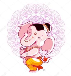 Find Little cartoon Ganesha. Vector cartoon illustration on a pink spotted background. Stock Images in HD and millions of other royalty-free stock photos, illustrations, and vectors in the Shutterstock collection. Ganesha Drawing, Lord Ganesha Paintings, Ganesha Art, Shiva Art, Hare Krishna, Indian Gods, Indian Art, Kawaii, Spirituality