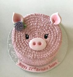 This would be so cute for a farm theme baby shower! Cake Icing, Buttercream Cake, Cupcake Cakes, Pretty Cakes, Cute Cakes, Piggy Cake, Piggy Cupcakes, Pig Birthday Cakes, Farm Cake