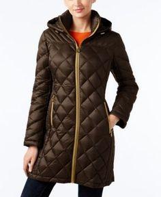 Michael Michael Kors Hooded Packable Down Diamond Quilted Puffer Coat - Brown XS
