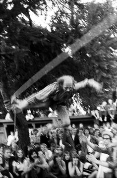 """Performance by Kjartan Slettemark called """"The art of falling"""". He does a tightrope walk without any training. 1969"""
