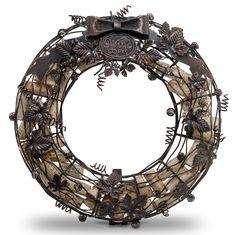 Metal cork holder wreath