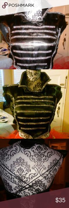 Mcr black parade top This cute band majorette style topis fashioned for women from the black parade my chemical romance video. Size med 5/6 made with. Black satim and satin ribbon Duchess Tops Blouses