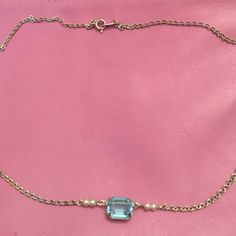 """Vintage Avon necklace Beautiful blue pendant with pearls attached to silver chain.  18"""" Avon Jewelry Necklaces"""