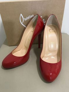 "Christian Louboutin Heels in ""Women's Clothing, Shoes and Heels"" Red Patent Leather Pumps, Patent Heels, Black Pumps, Christian Louboutin Sandals, Red Louboutin, Round Toe Pumps, Pump Shoes, Shoe Brands, Peep Toe"