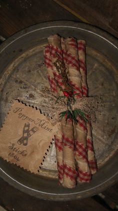 Prim Grungy Peppermint Sticks...in an old pan.