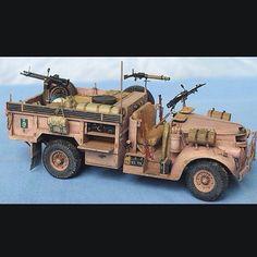 LRDG Chevrolet 30cwt Truck w/ passenger/vickers twin-K G.O.; pintle/Lewis LMG & rear/pintle twin M2HB .50 HMG Unknown modeler From: pinterest #scalemodel #plastimodelismo #miniatura #miniature #miniatur #hobby #diorama #humvee #scalemodelkit #plastickits #usinadoskits #udk #maqueta #maquette #modelismo #modelism