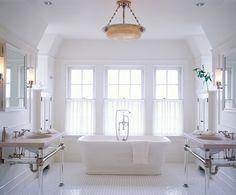 windows, sinks on both sides Stockholm Vitt - Interior Design: Nantucket Retreat