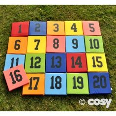 Sit on them or use them for giant numberline activities. These number mats are a superb teaching tool that can make maths an easy part of everyday routines. Set of 20. L 25cm x W 25cm. Waterproof material.
